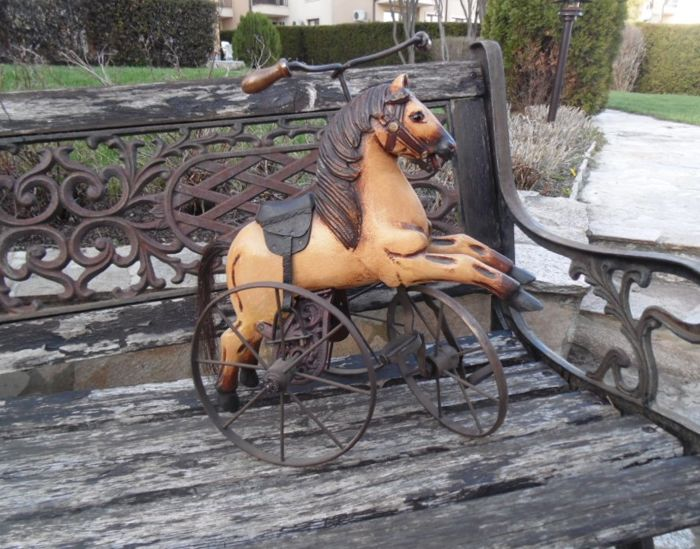 Old handmade tricycle with horse -Vintage Hand Carved Wooden Horse Tricycle - 20th c.