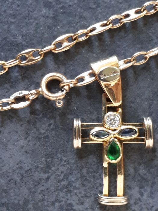 18 kt yellow gold necklace  with cross and gemstones Weight 14 g