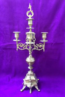 Five light candelabra with removable bronze candlestick/extinguisher