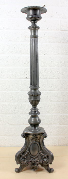 Heavy pewter church candlestick Louis XVI-style, 100 cm