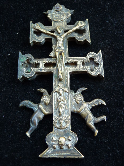 Antique and original bronze Cross of Caravaca icon from the 18th Century.