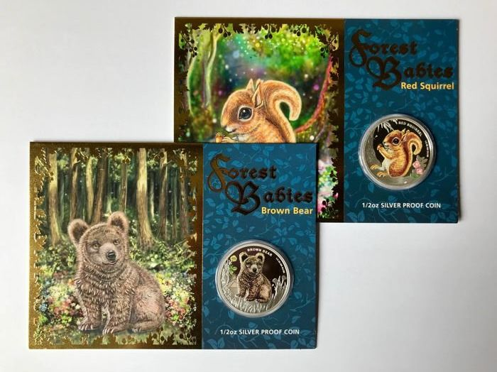 Tuvalu - 50 Cents 2013 Brown Bear & Red Squirrel - Forest Babies - 2x ½ oz - Silver
