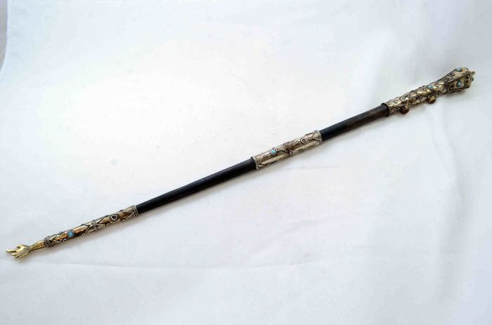 A  big sterling silver Yad Torah pointer - wood and silver - gemstones and filigree - Turkey - ca. 1920's