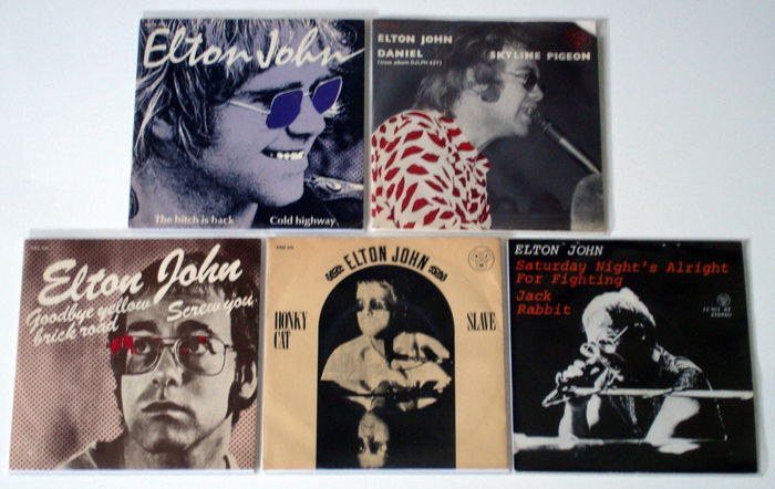 5X Singles Rock By Elton John, The Early Years, All Original 1St Pressings Early 1970'S From Holland & Germany