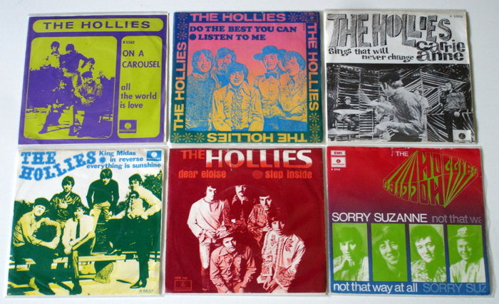 6X Singles Pop By The Hollies, All Original 1St Pressings 1960'S From Holland