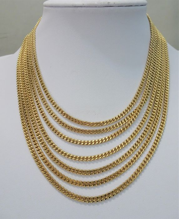 Signed MONET - 7-Row Gold chain Necklace - 1970s