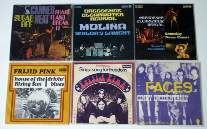 6X Singles Rock & Bluesrock By Canned Heat, Creedence Clearwater Revival, Frijid Pink & Faces, All Original 1St Pressings Early 1970'S From Holland & Germany