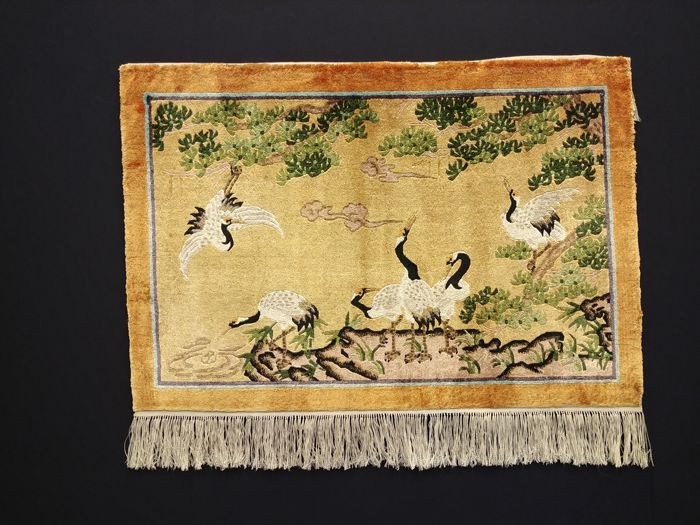 China silk tapestry approx. 93 x 63 cm