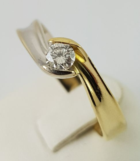 Diamond ring, 750 bi-colour yellow and white gold - 1 diamond in brilliant cut