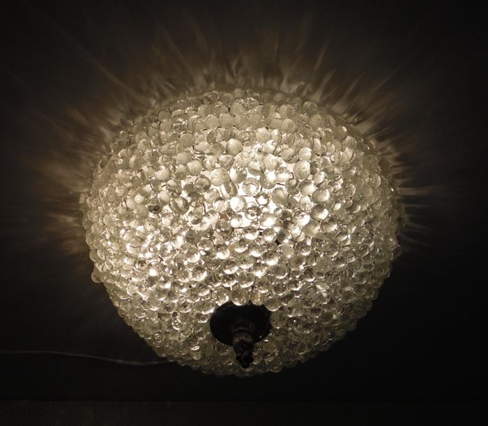 Large mouth-blown Murano style glass grape ceiling lamp