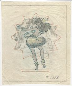 "Disney WWII insignia - Hank Porter - Original drawing - ""Hula Dancer"" Insignia  + CoA - (1940)"