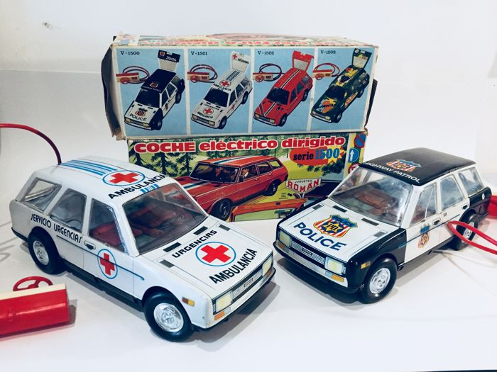 Roman - Spain - Ambulance and Police cars, wire-controlled, Series 1500 - 36 cm - 1970s