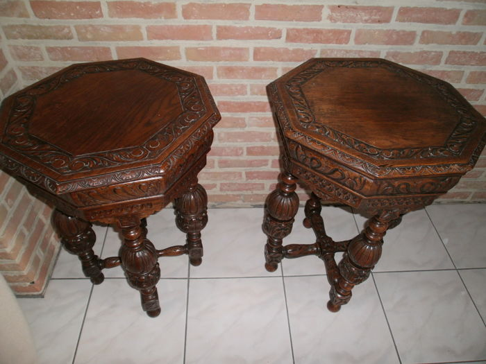 Two oak tables or stools, or so-called tabourets - from 17th century style elements - circa 1900