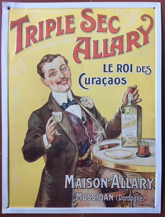 Sheet metal plate - Triple Sec Allary Le roi des Curacaos - 1997