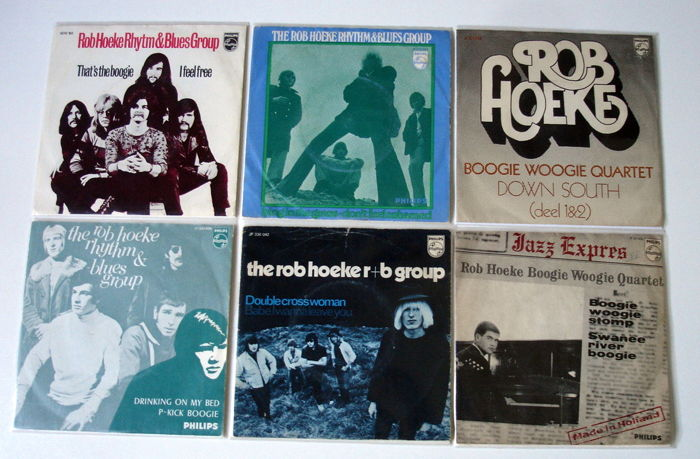 6x Singles R&B from THE ROB HOEKE RHYTHM & BLUES GROUP, original 1st pressings 1960's from Holland
