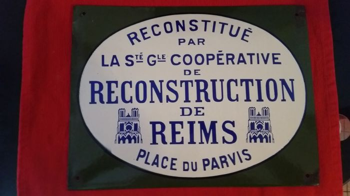 Rare enamelled reconstruction plate from 1920