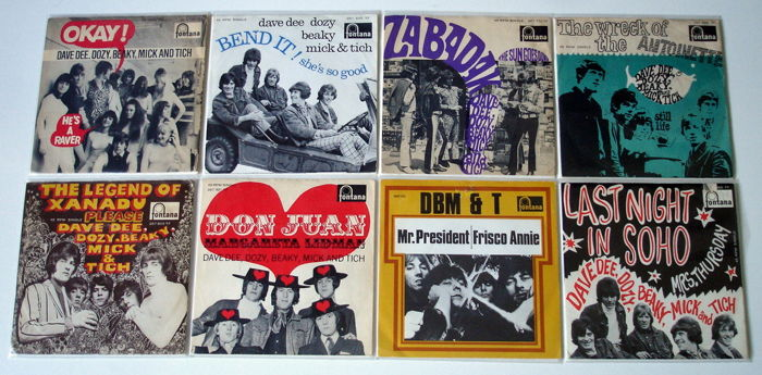 8x Singles Pop by DAVE DOZY BEAKY MICK & TICH, all original 1st pressings 1960's from Holland