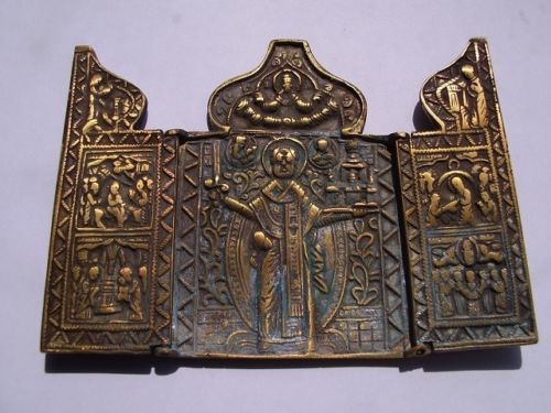 Antique triptych icon in Bronze of the Balkans - Circa 18th century