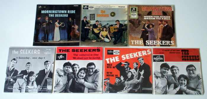 5x Singles + 2x EP's Folk Pop from THE SEEKERS original 1st pressings 1960's from The UK, Holland & Germany