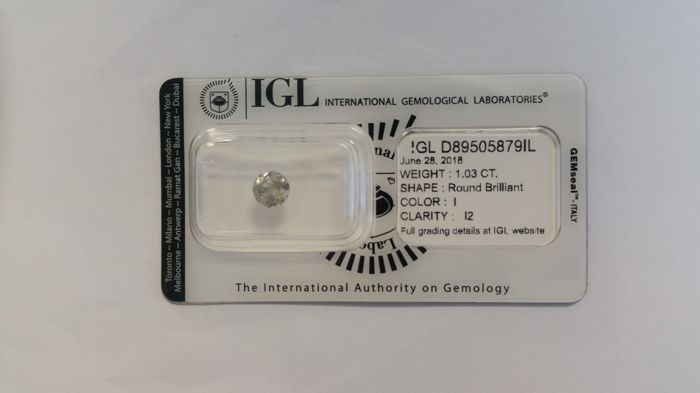 1.03 ct  Natural Diamonds Round  I  I2  IGL - No Reserve