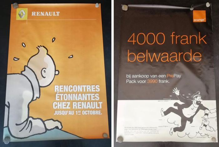 Tintin - 2 grand affiches promotionnelles - Renault + Orange - (2001)