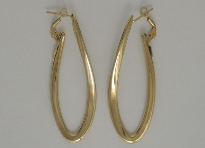 18kt gold oval hoops – 5,2 cm height – leverback clip – unused