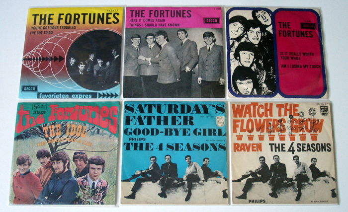 6x Singles Pop by THE FORTUNES & THE FOUR SEASONS, all original 1st pressings 1960's from Holland