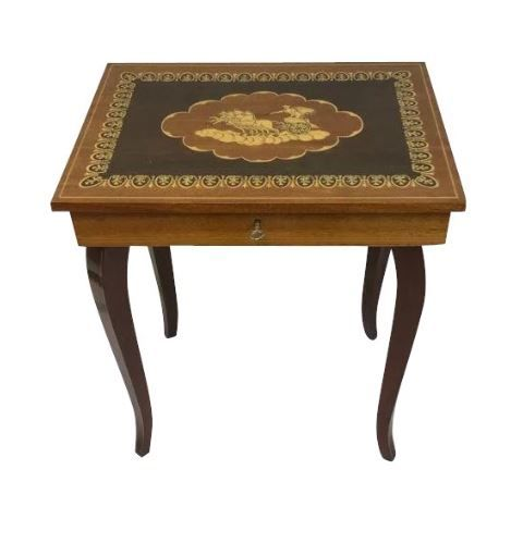 Luxurious intarsia (sew) table with game box - curved legs - including key and includes full sew content