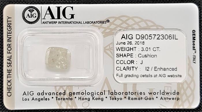 3.01 ct - Natural White Diamond - J Color - I2 - VG/VG - NO RESERVE!