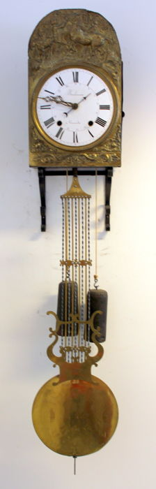 French Comtoise with lyre pendulum, address: Bonhomme à Grenade