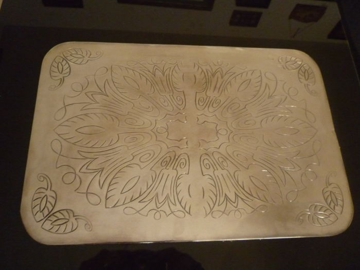 Lovely vintage tray and six coasters in 925 silver