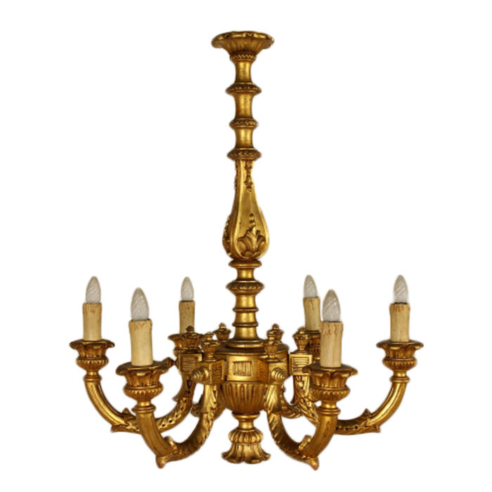 Gilt wood chandelier carved wood and miscellaneous materials gilt wood chandelier carved wood and miscellaneous materials italy c 1910 aloadofball Gallery