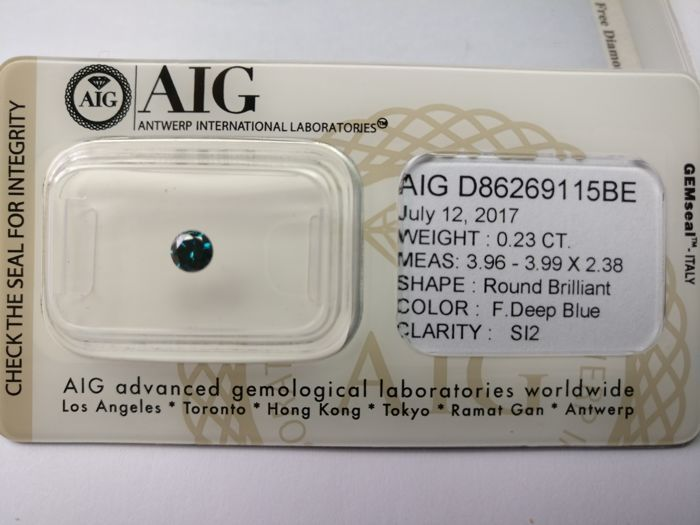 0.23 ct Round cut diamond Fancy Deep Blue SI2