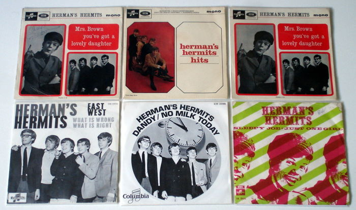 3X Singles + 3X Ep's Pop By Herman's Hermits Original 1St Pressings 1960'S From The Uk & Holland ( 1 Ep Signed By Peter Noone Rare! )