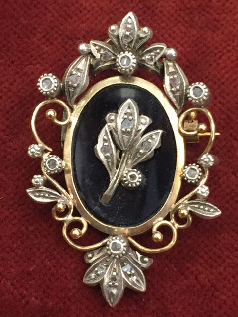 Medal/Pin and old jewellery in gold 19.2 kt and silver 835