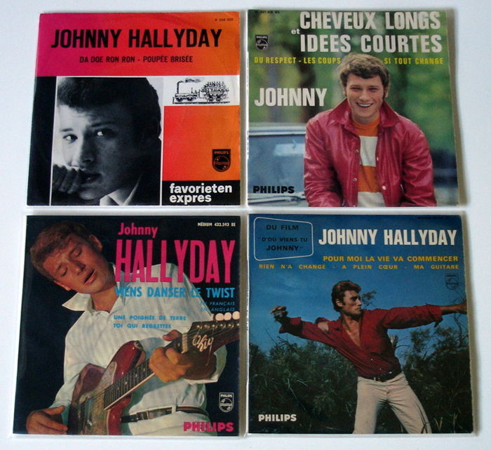 1x Single + 3x EP's French Rock & Roll from JOHNNY HALLYDAY original 1st pressings 1960's from Holland & France ( Very Rare Favorieten Expres ! )