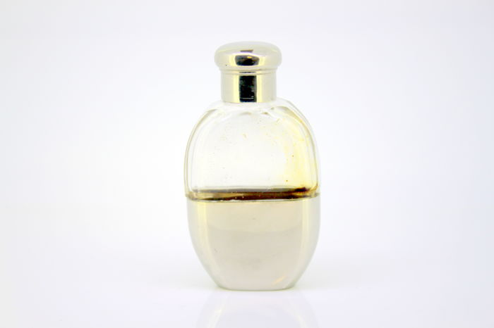 Antique Silver plate perfume glass bottle, England , C. 1930's