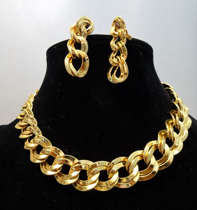 Monet 1970 80s Demi Parure Xl Double Link Necklace Earrings