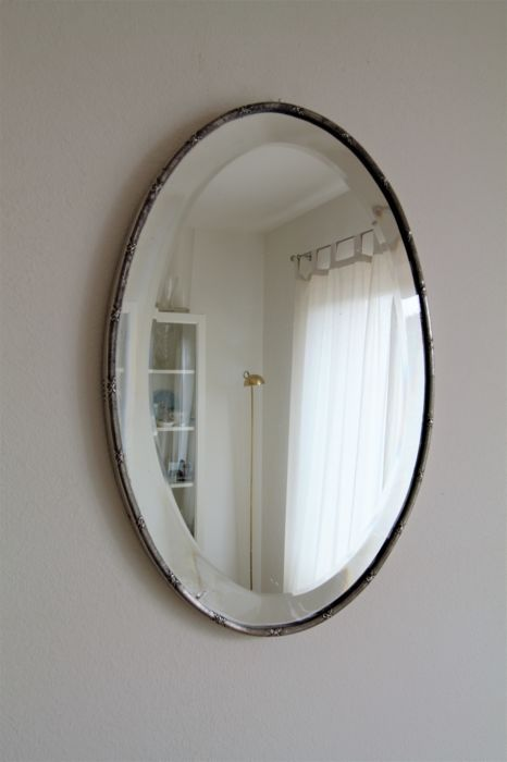 A mirror or mirror plateau with silver-plated edge ca. first half 20th century