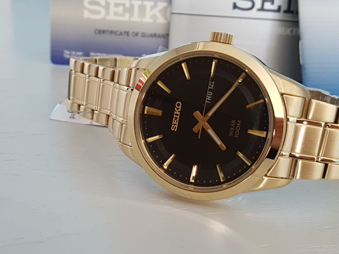 Seiko - Solar Watch Gold Plated solid bracelet unworn - Heren - 2018