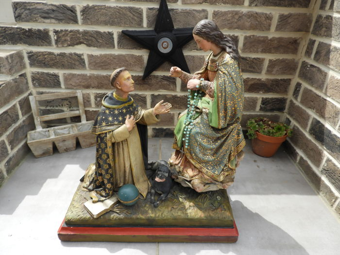Religious plaster statue of St. Anthony of Padua & Mary from Guadeloupe, 1900.
