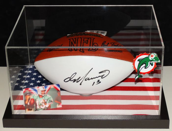 e2cccb079ae Dan Marino original autographed football in a display case + Certificate of  Authenticity and photo of