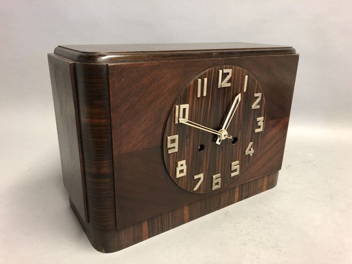 Amsterdam School - wooden mantel clock with wooden dial, Alpina