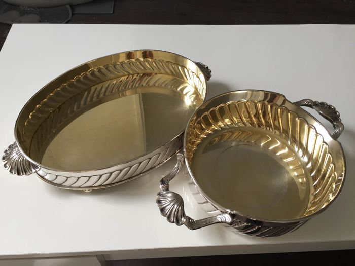 Set of silver plated metal trays from Christian Dior