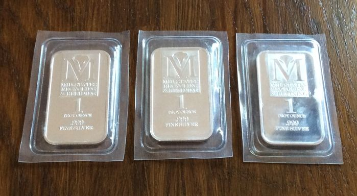 Mid-States Recycling & Refining - 3 x 1 Troy ounce - 999/1000 - Minted