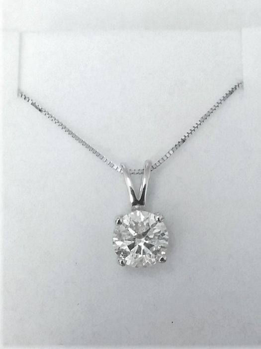 1.29 ct Round Diamond Pendant - E / SI2 - in 14 kt white gold + 14 K White Gold Chain + AIG Certified + Laser Engraved .