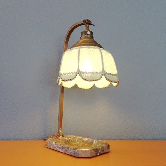 Art Deco Period Bronze with Marble Astray Table Lamp, 1920s