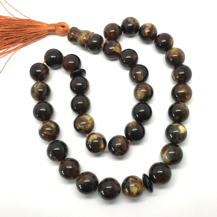 Islamic tesbih of 33 natural Baltic amber prayer rosary 33x beads ø13.5mm, 51.7 grams