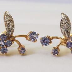 14k Yellow Gold Earrings with Tanzanite & 0.098 ct Diamond , Whole dimension for each 16 x 15 mm