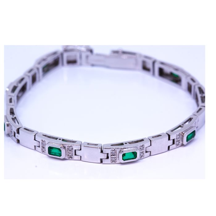 18 kt gold bracelet with diamonds and emeralds 1.00 ct - length 19 cm